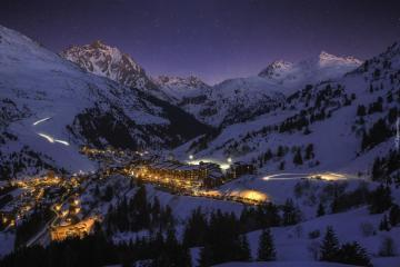 """Illuminated winter homes - The photo comes from the \ """"Tapeciarnia \"""""""