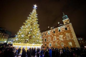 Castle Square in Warsaw. - Christmas tree at Castle Square in Warsaw.
