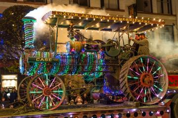 An old tractor. - Tractor in the Christmas version.