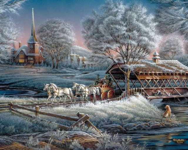 Winter in the countryside - Wintry landscape. Almost like in Christmas. Landscapes. Winter in the countryside. Jigsaw puzzle. Wintry landscape. Beautiful winter, horses, sleighs, snow Wintry landscape. Painting Wintry landscape (9×9)