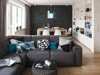 Ett modernt vardagsrum