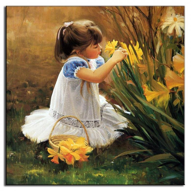 Narcyze i dziewczynka. - Kwiaty i dziewczynka..