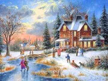 Kolorowy obrazek. - Kolorowy obrazek. Zima na wsi.