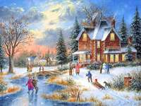A colorful picture. - A colorful picture. Winter in the countryside.