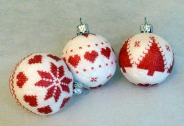Red and white Christmas balls. - Red and white Christmas balls.