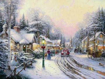Villaggio a Natale. - Pittura. Villaggio a Natale.
