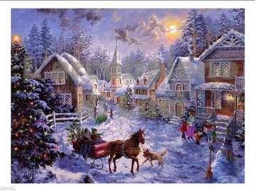 Natale in una città - Puzzle di Natale per bambini Natale innevato