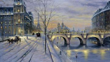 Winter Paris. - Painting. Winter Paris.