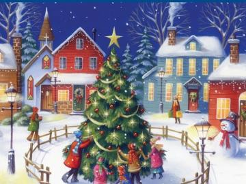 tuning the Christmas tree - children dress a Christmas tree, square, town