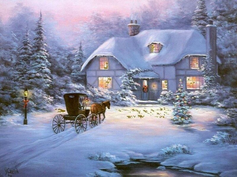 Winter landscape - Christmas visit. Landscapes. Beautiful white winter (8×8)