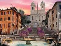 Španělské schody - Španělské schody, Barcaccia fontána, Řím, malba
