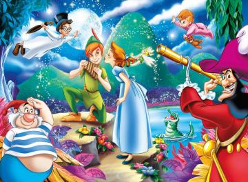 Peter Pan Disney, Fairy Tales - Peter Pan Trilli Wendy Captain Hook Sponge Wendy brothers and crocodile, puzzle for children