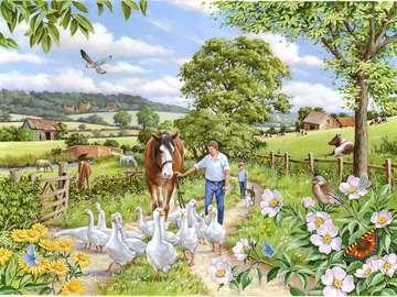 Landelijk landschap. - Landelijk landschap met dieren.