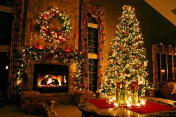 A festive room - Buildings. A festive room. Colorful Christmas tree with a fireplace Christmas