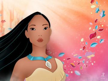 Pocahontas, fairy-tale puzzle - pocahontas wallpaper background with leaves, jigsaw puzzle, jigsaw puzzles