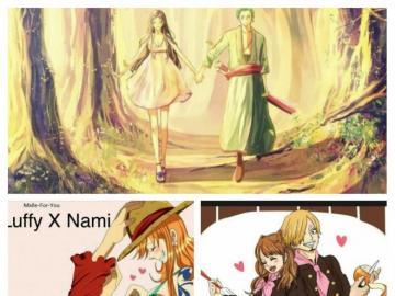 una pieza - Sur l'image, il y a trois couple de one piece Luffy x Nami (LuNa) Zoro x Robin (ZoRo) Sanji