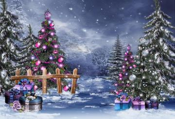 Winter landscape - Winter landscape with Christmas trees.