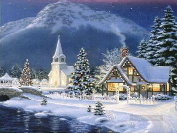 A town in winter. - Winter landscape with a church.