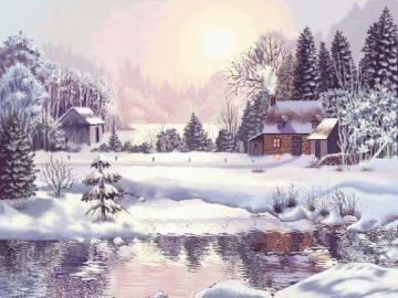 zimowy dzień - zimowy dzień , domek , las, strumyk