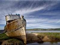 oud wrak - oud schip, wrak, zand