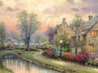 illuminated street by the rive - illuminated street by the river, houses, bridge, painting