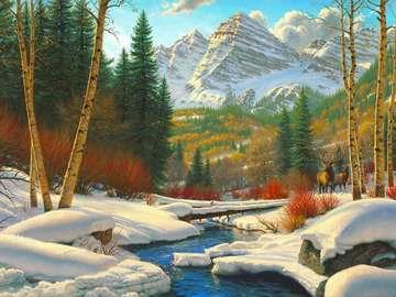 Zimowy krajobraz. - Piękny zimowy krajobraz.