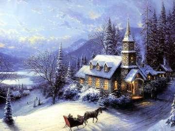 festmény - Téli táj egy templommal.