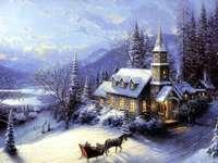 живопис - Зимен пейзаж с църква.