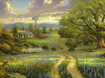 Sielski krajobraz. - Sielski krajobraz amerykańskiej wsi.