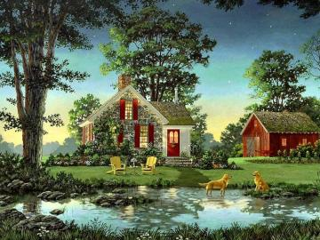 Small dogs two. - Landscape. Small dogs two. Landscape puzzle. Landscape with dogs.