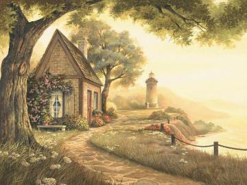 Haus am Meer - Landschaft. Haus am Meer.