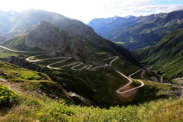 Swiss landscape - The road to the St. Gotthard.