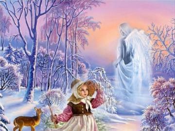 Winterlandschaft - Winterlandschaft mit einem Kind.