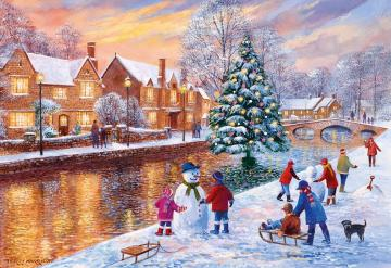 A town on the river. - A small town by the river in winter.