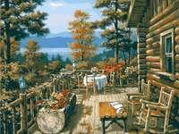 utsikt från terrassen - utsikt från terrassen, bergen, sjön, målning