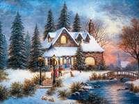 Ώρα Δεκεμβρίου - Χειμερινό τοπίο. Χριστούγεννα. Παζλ: χειμωνιάτικο τοπί