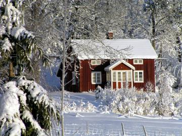 Cottage in a winter landscape. - Cottage in a winter landscape. Beautiful red and white of winter. Winter cottage