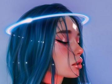 Beautiful Girl - Hermosa chica de pelo azul
