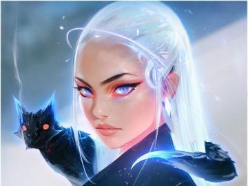 Chicas hermosas - Hermosa chica de pelo azul Hermosa chica de pelo blanco Beautiful Girl