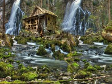 Forest waterfalls. - Landscapes. forest waterfalls.