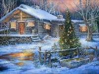 In de winter in een landelijke boerderij.