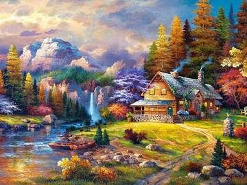 colorful picture - A colorful landscape picture. Colorful autumn leaves, autumn colored leaves.