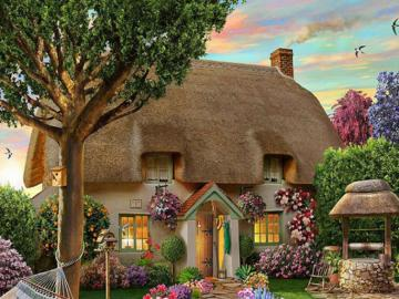 A painted house. - A painted house with a garden.