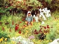 Meisje op een bloemenweide - Meisje op een bloemenweide