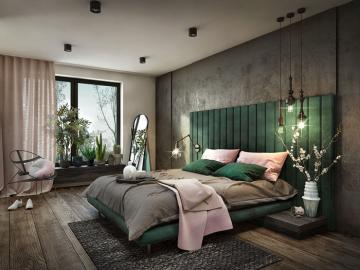 Bottled green in the bedroom - A beautiful bedroom, a leading green color