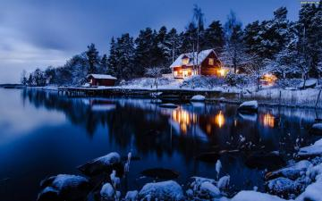 a house by the lake - house by the lake, winter