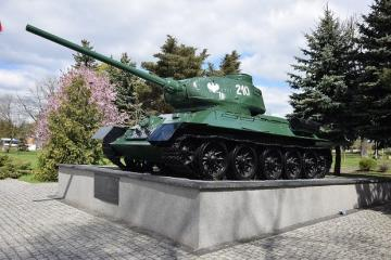 monument to Mirosławiec - Tank T-34, commemorates Polish heroes fighting for Mirosławiec