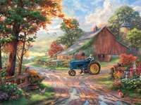 Thomas Kinkade. Village. - Painting. Thomas Kinkade.