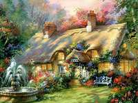 Una casa pintada con un jardín