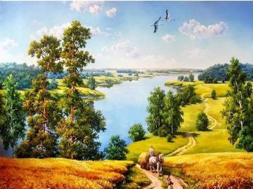Malarstwo. - Sztuka. Malarstwo. Nad rzeką.